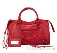 bolsas de couro preto senhoras venda por atacado-Bolsa de couro genuíno clássico 42m mulheres bolsa Uma variedade de cores Moda senhora saco de pele de carneiro genuína bolsa de couro preto, vermelho, gery