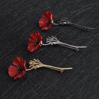 gelin broşları toptan satış-Kırmızı Gül Çiçek Broş tasarımcı broşlar Düğün Gelin Takı Erkekler Kadınlar lüks tasarımcı pimi broşlar broche için Kristal Broş