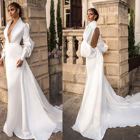 şık v yaka elbiseleri toptan satış-Moda Beyaz Mermaid Abiye Derin V Boyun Uzun Kollu Hollow Geri Ünlü Elbisesi Sweep Tren Saten Örgün Elbise