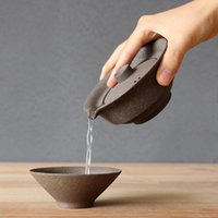panela de chá de viagem venda por atacado-1 conjunto de xícara de chá de cerâmica japonesa set portátil teaware de viagem kung fu xícara de chá 1 Pote 2 Copos Home Office Vintage Drinkware Gaiwan