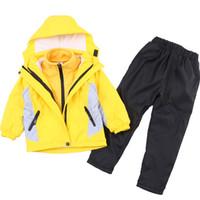 outdoor uniform jacken großhandel-Herbst winter kinder schuluniformen sets kinder jungen jacke sweatshirt hosen 3 stücke kleidung sets mädchen outdoor sports kostüm