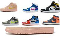 chaussures de basket vert fluorescent achat en gros de-2019 nouvelles 1 Rétro haute OG hommes / femmes KNICKS / enfants chaussures de basket-ball 1s Mid SE - Coral sneakers Stardust / or gris vert fluorescent Athletic