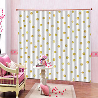 Wholesale grommet drapes for sale - Group buy Photo Customized Yellow Dots Curtain For Living room Bedroom Blackout Window Drapes Decor Sets Panels Grommet Top Hooks
