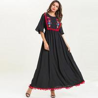 muçulmanos vestuário para mulheres venda por atacado-Muçulmano borla abaya robe kaftan dubai ramadan hijab dress peru abayas para as mulheres jilbab caftan elbise turco islâmico clothing