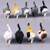 ingrosso mini animali per la decorazione-Cat Figurine Giocare Cat Action Figures Giocattoli per bambole Miniatura Realistico Gattino Animale Decorazione Mini fata Giardino Cartoon Car Decorative