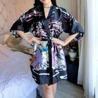 vestidos de seda japoneses al por mayor-Woherb 2019 Verano Japonés Pijama Mujeres Albornoz Seda Pijamas Harajuku Kimono Imprimir Flor Señoras Vestido de la ropa de dormir Sexy 21196