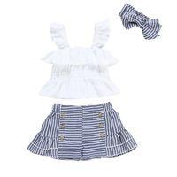 kleinkind weiße weste groihandel-Sommer Kleinkind Kinder Baby Mädchen Kleidung Weiß Outfits Ärmellose Weste Tops Shorts Stirnband 3 Stücke Sets