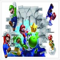 calcomanías mario al por mayor-Pegatinas de pared 3D Decoración de pared para el hogar Pegatina de Super Mario para habitación de niños Decoración de dormitorio Cartel de DIY Papel tapiz mural Tatuajes de pared