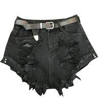 jeans effiloché pour les femmes achat en gros de-2019 été nouvelle taille haute Denim Shorts femmes trou large jambe gland lâche effiloché BF rayé shorts jeans