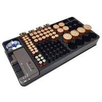 d держатели батарей оптовых-Батарея для хранения Организатор держатель с тестером - Battery Caddy Rack Case Box Владельцев Включая батареи Checker для AAA AA C D