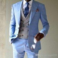 smokings marié à deux boutons achat en gros de-Nouvelle Haute Qualité Deux Bouton Bleu Marié Tuxedos Peak Lapel Groomsmen Hommes Mariage Affaires De Bal De Costumes (Veste + Pantalon + Vest + Cravate) 220