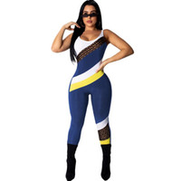 Wholesale one piece backless jumpsuit for sale - Group buy Women Patchwork Jumpsuit Colors Summer Sleeveless Backless One piece Leggings Sports Fitness Vest Tracksuit Skinny Romper OOA6472
