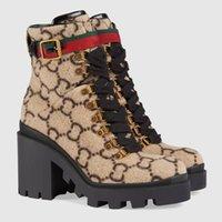 bej dantel botları toptan satış-Yün Ayak bileği Boot Bej / abanoz Kadınlar Boots Lug Soled Heeled Patik Dantel-up Altın tonda gözleri Kadın Kış Bootssun ile