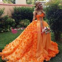 laranja puffy vestidos de baile venda por atacado-Orange Ball Gown Vestidos Quinceanera Flores Princesa Debutante Puffy Prom quinceanera Vestidos Sweet 16 Masquerade Robe de soiree