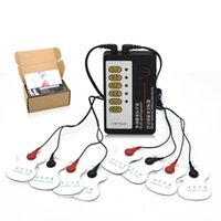 Wholesale bondage massage resale online - Double electrode Electric shock pulse Body paster patch Kit with Host Machine Sex Electrotherapy Massage patch Kit include patches