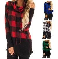 Wholesale womens clothing clothes online - Women plaid T Shirts long Sleeve Drawstring Cowl Neck Top Casual T Shirt Ladies Tops Pullover Womens Clothing MMA1337