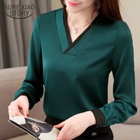 Wholesale bright color blouse for sale - Group buy 2019 Spring Fashion Women Blouse Long Sleeve New Korean Bright Chiffon Blouse Plus Size Women Tops Shirt Loose Blusa J190614