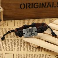 liebe id armband großhandel-ICH LIEBE JESUS Armbänder PU Leder Legierung ID Handgewebte Armband Mode Katholische Christliche Religiöse Schmuck