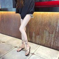 ingrosso black bondage femminile-Mazefeng 2019 nuove donne estive sandali romani femminile multiplo cross-strap bondage perizoma donne sandali infradito nero albicocca
