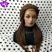Wholesale long synthetic hair braid resale online - Long natural medium brown color Box Braids Wig fully handtied Braided Lace Wig africa women braiding hair synthetic lace front wig