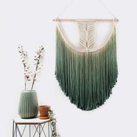 ingrosso filato di cassa-Macrame Large Wall Hanging - Macrame Wedding Hanging Backdrop - Ombre Adesivo da parete Diparded Yarn Tapestry Decorazioni per la casa
