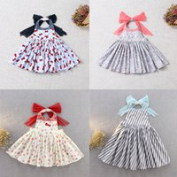 Wholesale red cotton aprons for sale - Group buy Kids Girl Cartoon Apron Dress Striped Printed Princess Fancy Ventilation Bow Strap Dresses Costume for Toddlers Girls Costume TUTU Apron