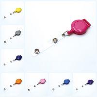 chaveiros convenientes venda por atacado-Titular Crachá Retrátil Anel Chave Reel Clipe ID Badges Doce Cor Conveniente para Escritório Escolar Empresa Suprimentos Artigos de Papelaria M445Y