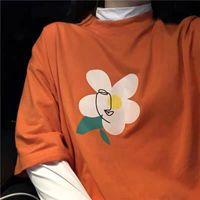 ingrosso sottogonne arancioni-Camicia arancione arancio corallo 2019 nuova maglietta vintage ragazza a maniche corte T-shirt sapore porto insaccettabili studenti