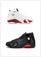 zapatos de caramelos rojos al por mayor-2019 14 Zapatos de baloncesto con bastón de caramelo Último disparo 2018 14s Zapatillas deportivas deportivas Blanco Varsity Rojo Metálico Plata Negro Acentos Asperjados