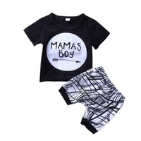 Wholesale baby boy clothes for sale - Kids Clothing Sets Summer Baby Clothes Cartoon Mamas boy letter Print Outfits Toddler Fashion T shirt geometric Shorts Children Suits C6099