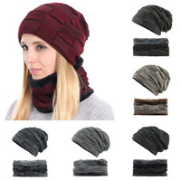 1428cbb6dc9 Fashion 2Pcs Warm Winter Knitted Hat +scarf Set Mask beanie Cap Warm Velvet  Neck Ring Scarves +Thicken Knitting Cap