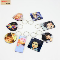 Sublimation Blank Keychain MDF Wooden Key Round heart star Pendant tag Thermal Transfer Double-sided Key Ring White DIY Gift Key Chain products