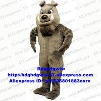 köpek kostüm çocuğu toptan satış-Uzun Kürk Kahverengi Bulldog Köpek Pitbull Bull Köpek Bala Maskot Kostüm Karikatür Karakter Amerikan Jubilee Karnaval Fiesta zx1288