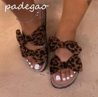 Wholesale leopard print flat shoes resale online - 2019 women s shoes summer sandals leopard bow flat suede casual fashion beach shoes women s slippers A260