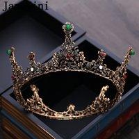 coroas redondas para noivas venda por atacado-JaneVini Coroas De Casamento Barroco Do Vintage Rodada De Cristal De Noiva Coroa Tiaras Noiva Artesanal de Strass Preto Headpieces Hairwear