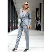 светло-серый костюм женщины оптовых-womens formal wear pantsuits Light Gray Slim Fit Women Business Suits Formal Office Suits Work Female 2 Piece