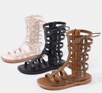 3634cc99ec9 Designer kids roman sandals kids lace-up Bows sandals children hollow High- boot campagus boots girls zipper gladiator sandals F6274