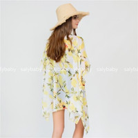 blusas de praia venda por atacado-Novo verão quente Chiffon Xaile protetor solar e blusas de biquíni Biquíni Lemon Beach Swimsuit cores Cover-Ups mxi order