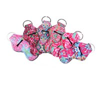 Wholesale coral cute resale online - Lilly Pulitzer Chapstick Holder Keychain Cover Case New Cute Coral Rose flamingos Design Neoprene Lip Balm Keychain Holder MMA1697
