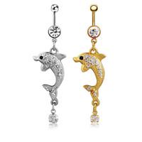ingrosso corpo bianco coreano-Gioielli Body piercing alla moda Coreano Trendy cristallo bianco Delfino ombelico anello di pancia anelli Lovery danza anelli di pancia