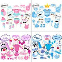 moda bebek bezleri toptan satış-Bezi Gözlük Şapka Pembe Mavi Bebek Duş Diy Kız Erkek Doğum Günü Fotoğraf Sahne Basit Moda Balon Parti Dekorasyon 6pcD1