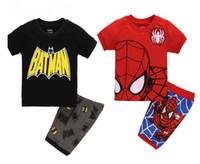 ingrosso vestiti di colore rosso-Nuovi vestiti per bambini set esplosione vendita calda nero, rosso 2 colori ragazzo cartone animato spiderman manica corta vestito casual