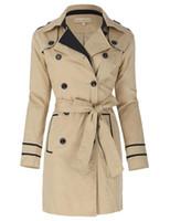 женские сапоги оптовых-Khaki classic coats Autumn Winter Women Stylish & Slim Fit Lapel Collar Double Breasted Cotton sashes belt lady Trench Coat tops