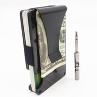 metal id kasa cüzdanı toptan satış-2019 Yeni Metal Mini Karbon Fiber Erkekler KIMLIK Tutucu Kartvizit Durumda Rfid Cüzdan