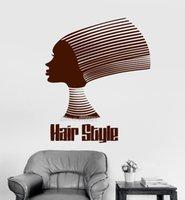 benutzerdefinierte vinyl-kunst großhandel-Afrikanische Frisur Zitat Vinyl Wandtattoo Schönheitssalon Aufkleber Benutzerdefinierte Farbe Tapete Hochwertige Wandbild Kunst Mode Wand