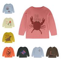 bobo de impresión al por mayor-2019 Nuevo Llega Bobo Choses Carta de Impresión Animal Camiseta Primavera Niños Camisetas de Manga Larga Chicos Chicas Bebé Ropa 1-8 años