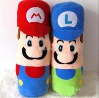 anime sıcak yastık toptan satış-Sıcak Satış 2 Stil 50 CM MARIO LUIGI yastık Süper Mario Bros Peluş Bebek Dolması Oyuncaklar Bebek İyi Hediyeler Için