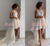 Wholesale new navy dresses for sale - Group buy Square Neck White Lace Short Wedding Dresses New Ruffles High Low Garden Beach Bridal Gowns Custom Boho Bride Dress Vestidos De Novia