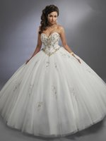 ingrosso dimensione bianca del vestito da partito 18-Princess White Tulle Sweetheart Beads Quinceanera Abiti Occasioni speciali Abiti da festa Danza Prom Dresses Formato personalizzato 2-18 KF1229338