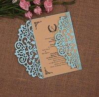 einladungsumschlag falte großhandel-Zweifache Einladungskarte Glitter Paper Laser Cut Hochzeitseinladungskarte Geschenk (kein innerer, kein Umschlag)